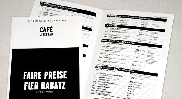 Café Libertad, Preisliste