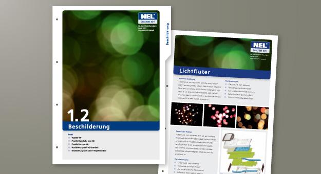 NEL-Produktkatalog, Taben und Produktseiten (Entwurf)